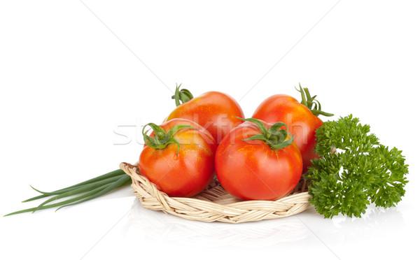 Olgun domates maydanoz yeşil soğan yalıtılmış beyaz Stok fotoğraf © karandaev