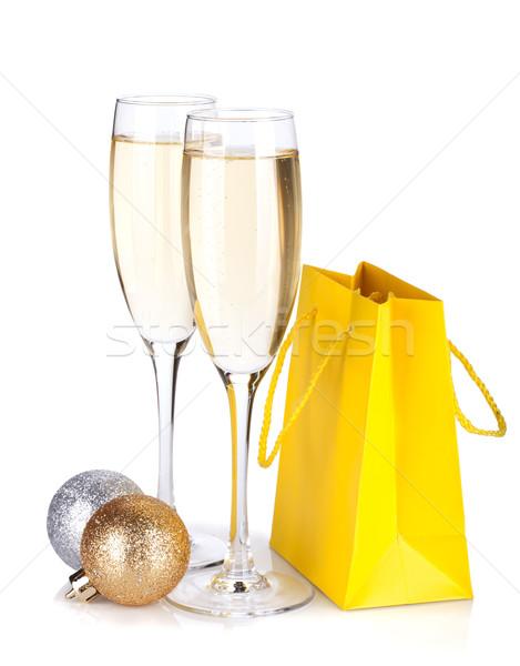 Stok fotoğraf: şampanya · gözlük · Noel · hediye · çanta · yalıtılmış