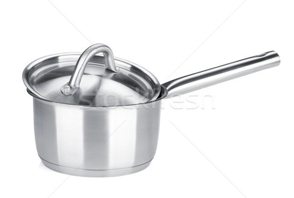 Foto stock: Aço · inoxidável · pote · isolado · branco · comida · casa
