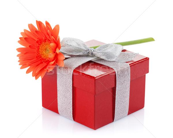 Orange gerbera flower over gift box Stock photo © karandaev