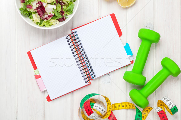 ストックフォト: 巻き尺 · 健康食品 · 帳 · コピースペース · フィットネス · 健康