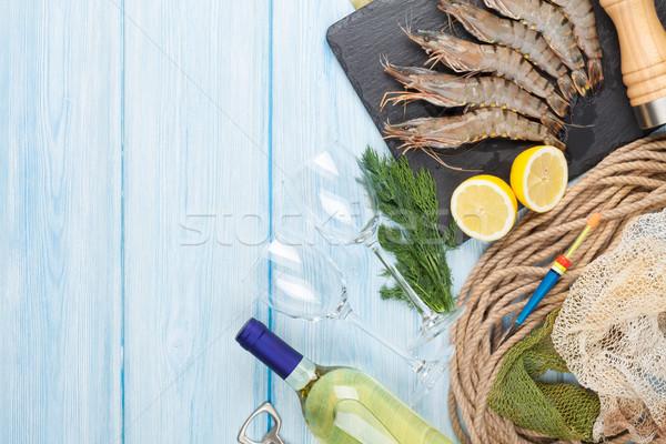 Photo stock: Fraîches · brut · tigre · crevettes · épices · vin · blanc