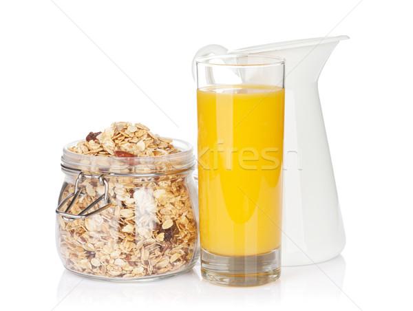Healthy breakfast with muesli, orange juice and milk Stock photo © karandaev