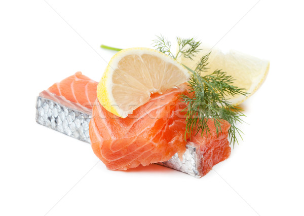 Two salmon pieces with lemon and dill Stock photo © karandaev