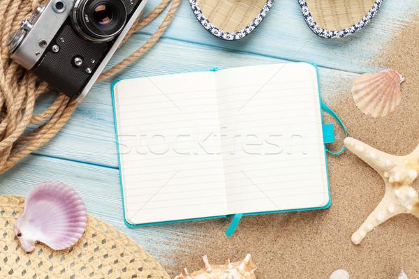 Podróży wakacje notatnika morza piasku górę Zdjęcia stock © karandaev