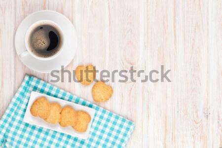 カップ ミルク ジンジャーブレッド クッキー 白 木製のテーブル ストックフォト © karandaev