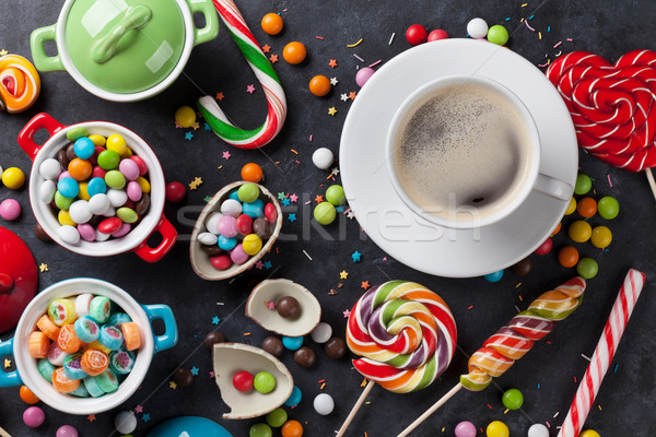 Colorful candies and coffee Stock photo © karandaev