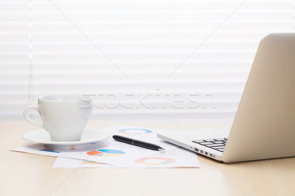 Office workplace with with laptop and coffee Stock photo © karandaev