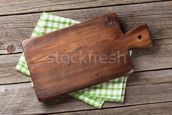 Tagliere asciugamano legno tavolo da cucina top view Foto d'archivio © karandaev