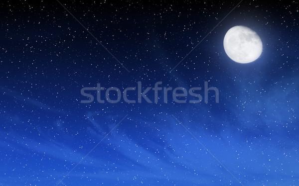 Stock photo: Deep night sky with many stars and moon