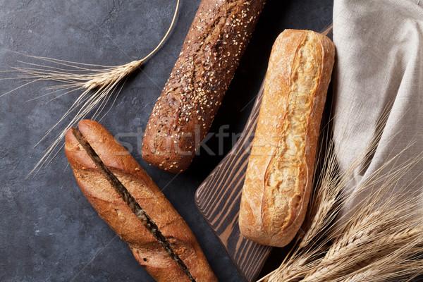 Pan pan piedra mesa superior Foto stock © karandaev