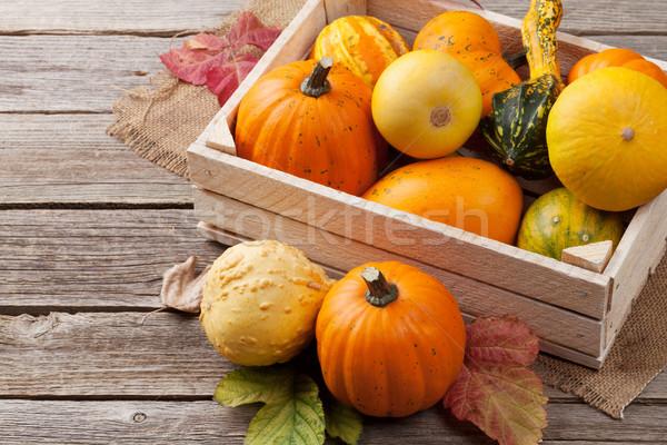 秋 カボチャ 木板 表 ボックス 背景 ストックフォト © karandaev