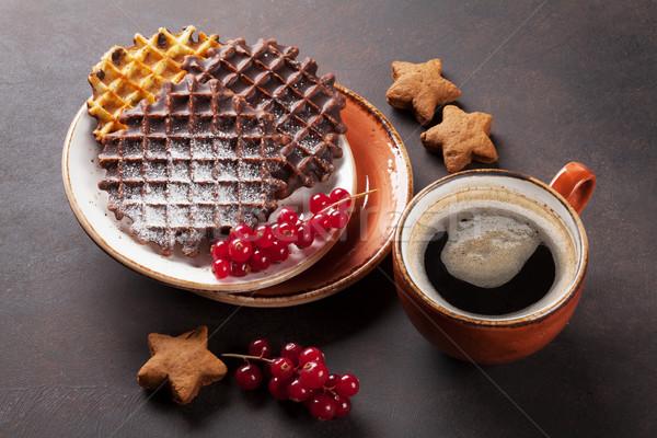 Café pedra tabela comida chocolate Foto stock © karandaev