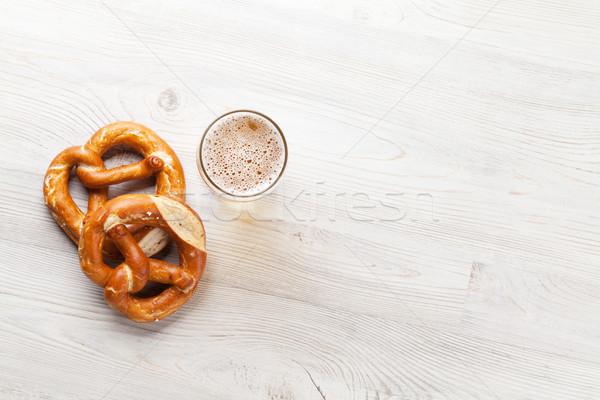 Világos sör sör perec fa asztal felső kilátás Stock fotó © karandaev