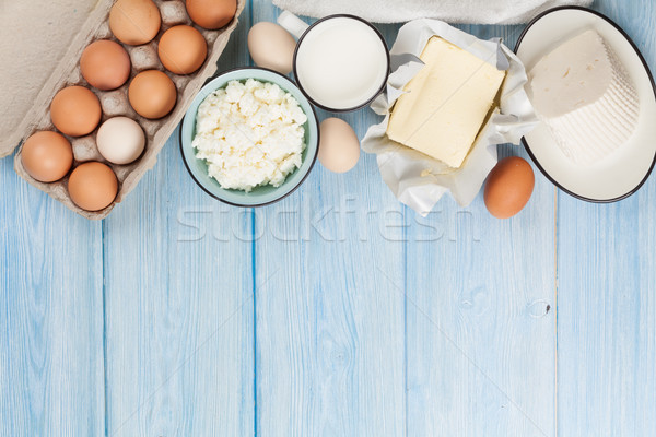 Lait fromages oeuf beurre table en bois Photo stock © karandaev