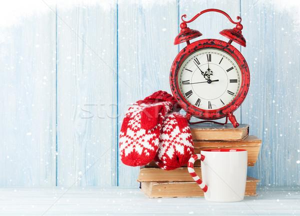 Christmas wekker warme chocolademelk wanten exemplaar ruimte Stockfoto © karandaev