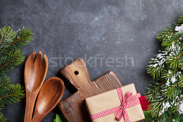 Christmas cooking table, gift box and utensils Stock photo © karandaev
