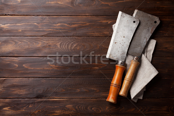 Butcher. Vintage meat knives Stock photo © karandaev