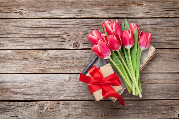 Сток-фото: красный · Tulip · цветы · шкатулке · букет