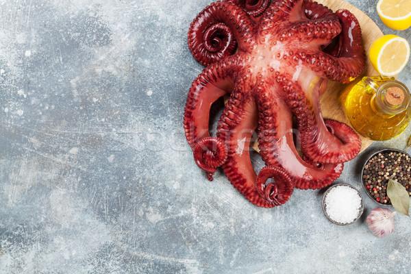 сырой осьминога приготовления специи каменные таблице Сток-фото © karandaev