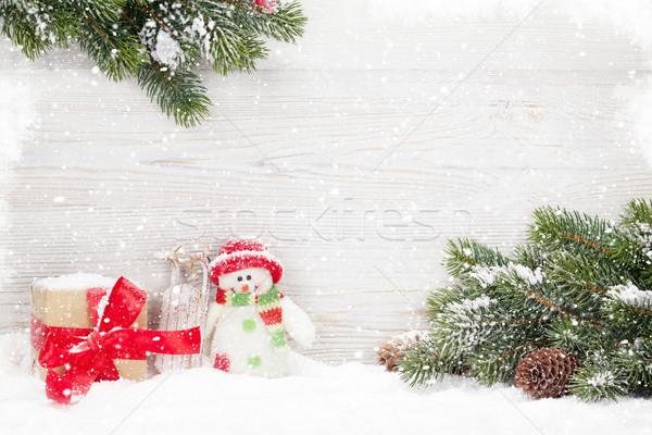 Karácsony hóember szánkó játékok ajándék fenyőfa Stock fotó © karandaev