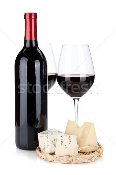 Various types of cheeses and red wine Stock photo © karandaev
