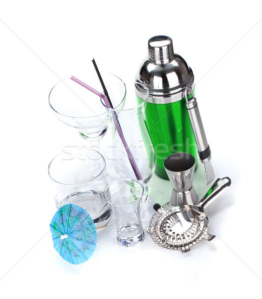 Cocktail shaker bril geïsoleerd witte Stockfoto © karandaev