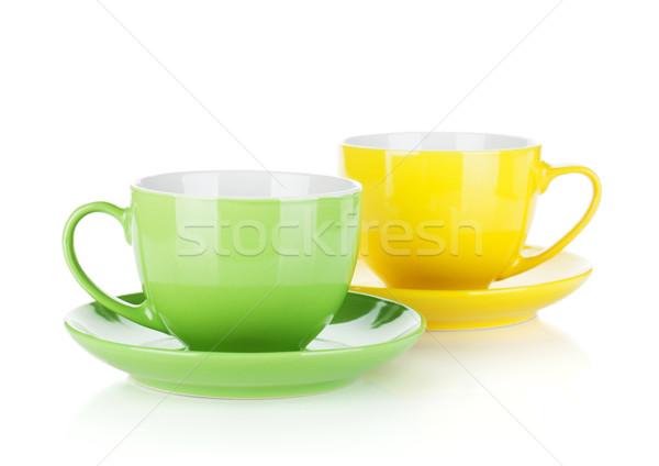 Ingesteld kleurrijk geïsoleerd witte koffie Stockfoto © karandaev