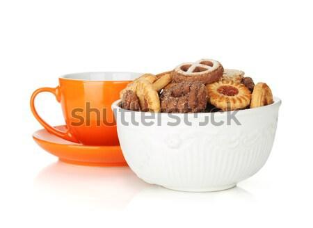 Különböző sütik tál narancs teáscsésze izolált Stock fotó © karandaev