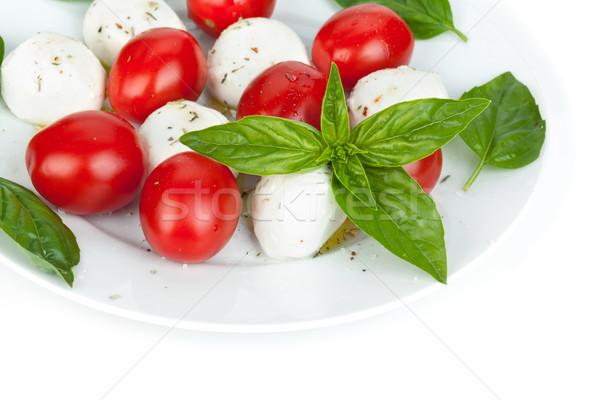 カプレーゼサラダ 孤立した 白 食品 葉 背景 ストックフォト © karandaev