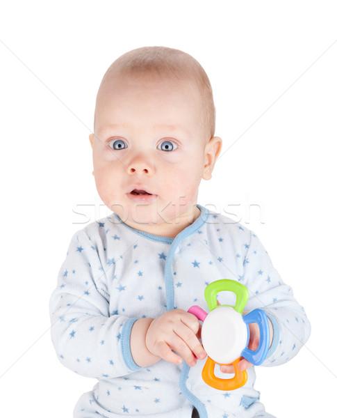 Stockfoto: Cute · baby · jongen · speelgoed · geïsoleerd