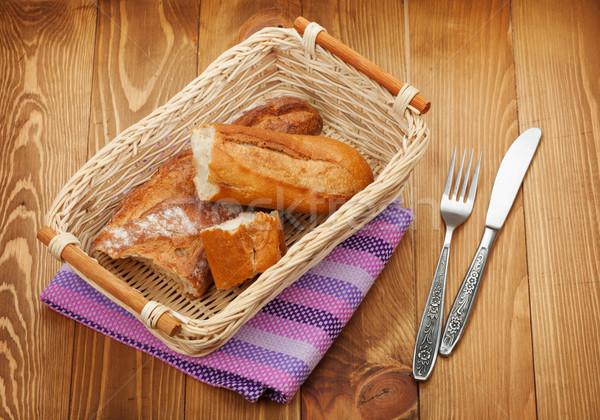 домашний французский хлеб деревянный стол продовольствие древесины таблице Сток-фото © karandaev