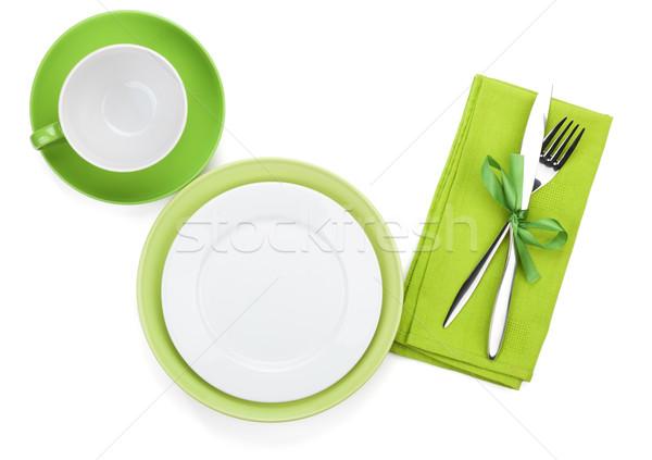 üres zöld tányérok kávéscsésze ezüst étkészlet törölköző Stock fotó © karandaev