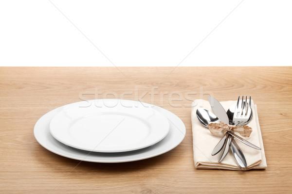 пусто пластина столовое серебро набор деревянный стол продовольствие Сток-фото © karandaev