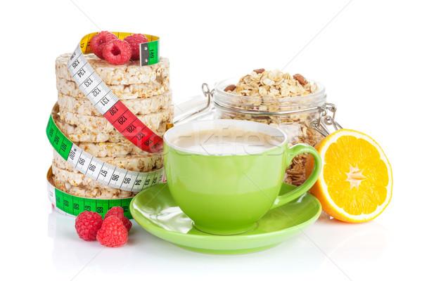Gezonde ontbijt müsli geïsoleerd witte koffie Stockfoto © karandaev