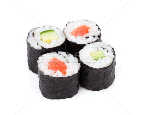 Sushi maki conjunto salmão pepino isolado Foto stock © karandaev