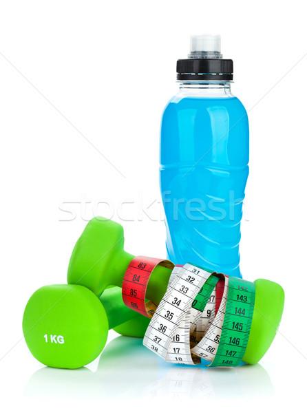 ストックフォト: 2 · 緑 · 巻き尺 · ドリンク · ボトル · フィットネス