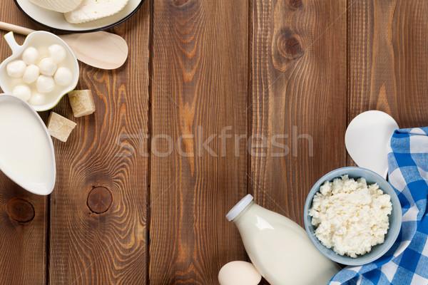 Sour cream, milk, cheese, eggs, yogurt and butter Stock photo © karandaev