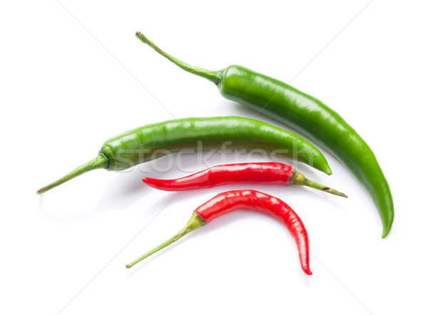 Green and red chili peppers Stock photo © karandaev