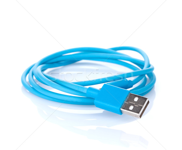 Niebieski kabel komputerowy odizolowany biały Internetu technologii Zdjęcia stock © karandaev