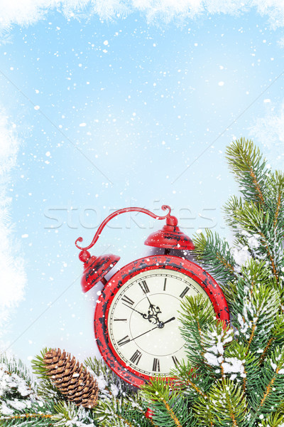 Christmas background with clock and branch Stock photo © karandaev