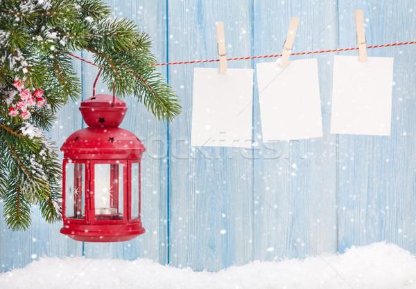 Christmas kaars lantaarn foto frames Stockfoto © karandaev