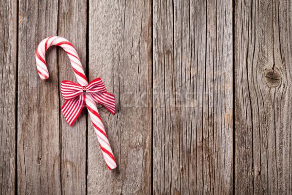 Christmas snoep riet houten tafel top Stockfoto © karandaev