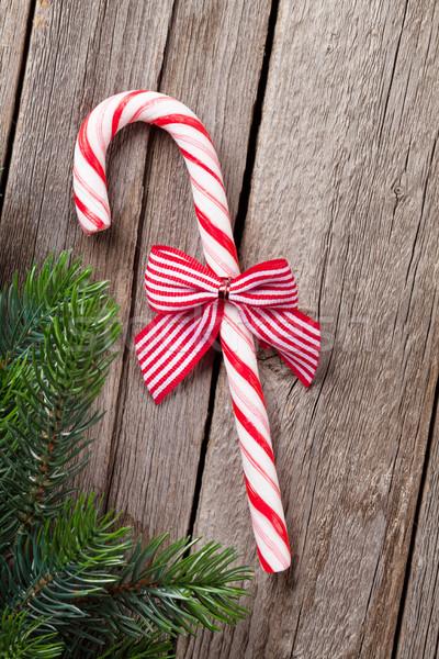 Рождества конфеты тростник деревянный стол Top Сток-фото © karandaev