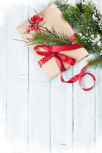 Noël coffret cadeau bois haut vue Photo stock © karandaev