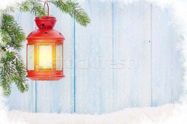 Karácsony gyertya lámpás fenyőfa ág hó Stock fotó © karandaev