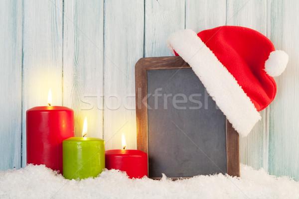 Natale candele lavagna Hat neve Foto d'archivio © karandaev