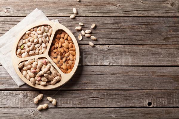 различный орехи деревянный стол Top мнение копия пространства Сток-фото © karandaev