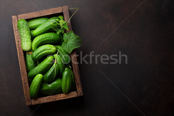 Vers tuin komkommers koken tabel top Stockfoto © karandaev
