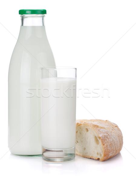 Milk bottle, glass and bread Stock photo © karandaev